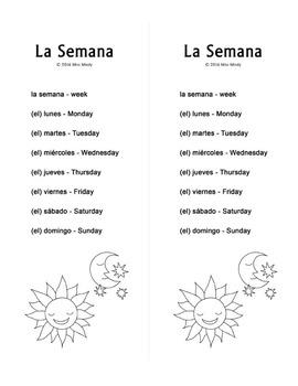 La Semana Spanish Days of the Week Crossword Worksheet by