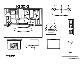 La casa (Spanish House Diagram, Vocabulary and labeling