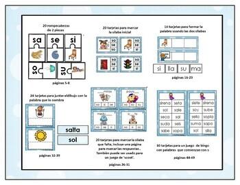 Aprendiendo a leer slabas y palabras con la letra s by