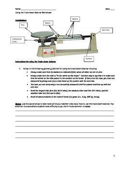 Triple Beam Balance Labeled : triple, balance, labeled, Triple, Worksheets, Teaching, Resources, Teachers