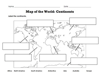 Label Map of the World: Continents, Oceans, Mountain
