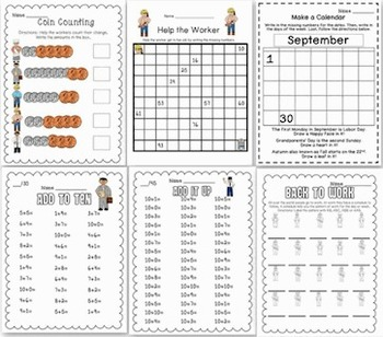 Labor Day Math & Literacy Fun for First, Second and Third