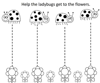 Ladybug Fine Motor Worksheets, Learning Center, Writing