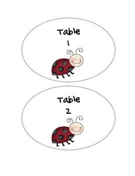 Ladybug Theme Table Numbers 1-6 by What's The Buzz In
