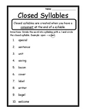 Open And Closed Syllables Worksheet Teaching Resources