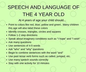 Language Milestones (4 years old) by Super Speech Fun Time ...