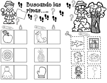 Las Rimas: Spanish Rhymes cut and paste worksheets by