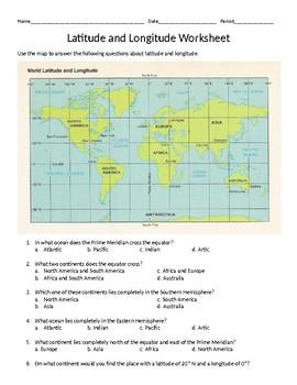LatitudeLongitude Absolute Location Worksheet by Bruce