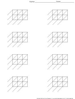 Lattice Multiplication: Blank Practice Sheet 3-digit by 2
