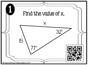 Law of Sines and Law of Cosines Task Cards by All Things