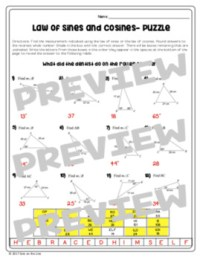Law of Sines and Law of Cosines - Puzzle Worksheet by Mrs ...