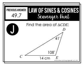 Law of Sines and Law of Cosines Scavenger Hunt Scavenger