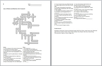 Newton's Laws of Motion and Simple Machines Crossword