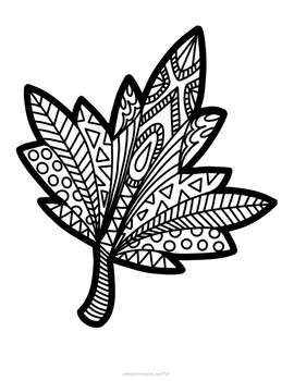 Leaf mandala coloring page by KT Creates by Katie Bennett