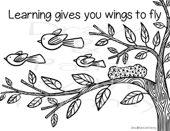 Learning gives you wings to fly, spring poster, coloring