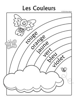 Les Couleurs French Colors Rainbow Coloring Page by Miss