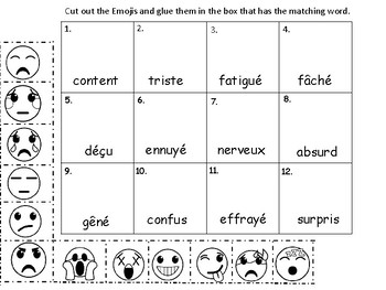 Les Emotions Emojis Vocab Presentation Games And