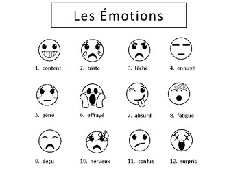 Les Émotions Emojis Vocabulary Word Wall
