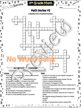 Less-Stress~4th Grade Math Vocab STAAR Review~Crossword #2