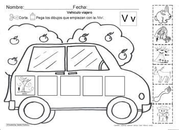Letra Vv set of Initial sound Worksheets SLA common core