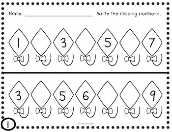 Missing Numbers in a Sequence, 1-20; Common Core Aligned