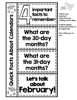 Let's Learn About Calendars! An Interactive File Folder