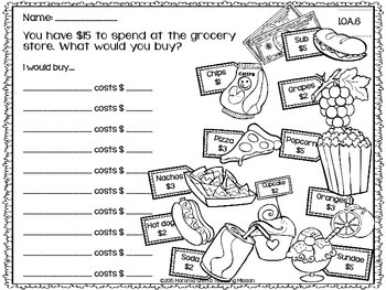 Let's go Grocery Shopping Freebie 1.OA.6 by Momma with a