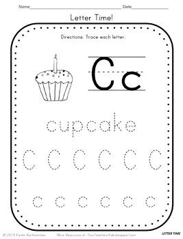 Letter C Math & Literacy Alphabet Activities NO PREP