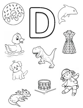 Letter D Coloring Page by Early Childhood Resource Center