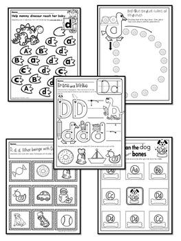 Pre-KG Alphabet Worksheets- LETTER Dd Printables- Tracing