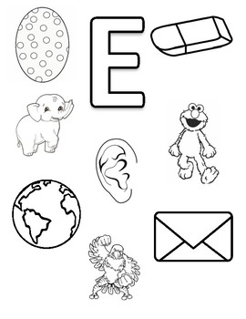 Letter E Coloring Page by Early Childhood Resource Center