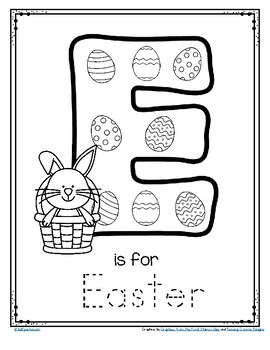 Letter E is for Easter Trace and Color Printable FREE by