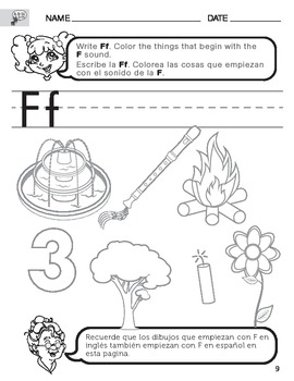 Letter F sound worksheet with Instructions translated into