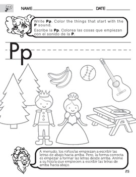 Letter P Sound Worksheet with Instructions Translated into