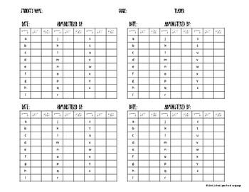Letter-Sound Correspondence Progress Chart by Schwa Speech