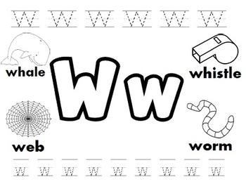 Letter W Worksheets By Kindergarten Swag