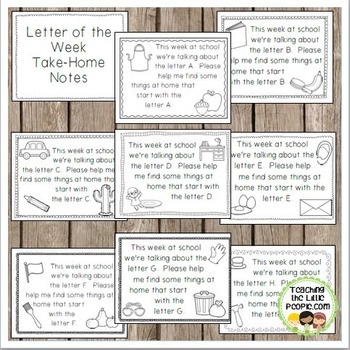 Letter of the Week TakeHome Notes for Parents by Julie Locke  TpT