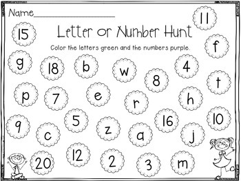 Letter or Number Sort Activities for Back to School Review