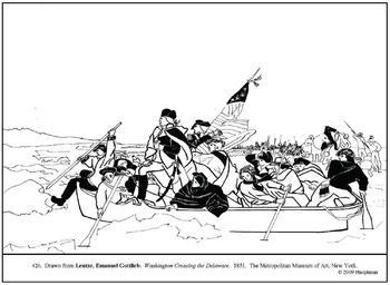 Leutze. Washington Crossing Delaware. Coloring page