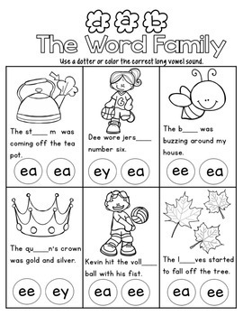 Phonics Level 2 Unit 11 Long E Words by Cartwheels and