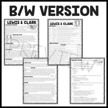 Lewis and Clark Reading Comprehension Worksheet for