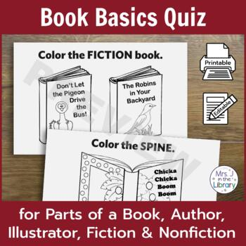 Library Quiz for Parts of a Book, Author, Illustrator