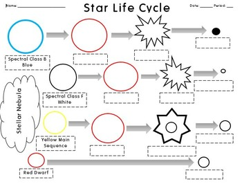 Life Cycle of Stars Worksheet +Answers by Science with a