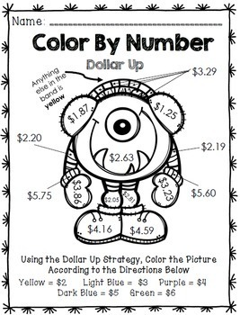 Life Skills Math and Money: Color By Number No Prep