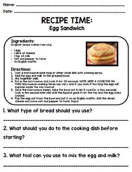 Reading A Recipe Worksheet : reading, recipe, worksheet, Skills, Reading, Recipe, Comprehension, BUNDLE!!!!!, Units