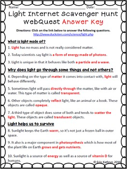 Light Webquest Answer Key | Shelly Lighting