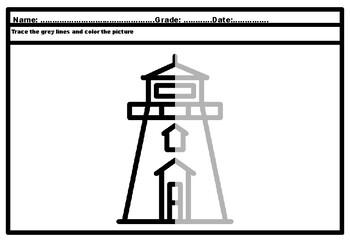 Lighthouse, Beach, Ocean, Nautical, Symmetry Art Puzzle