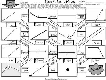Line and Angle Geometry Maze Activity by Fun's Not Just