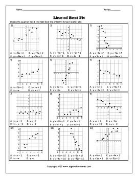 Scatter Plots And Lines Of Best Fit Worksheet Kuta