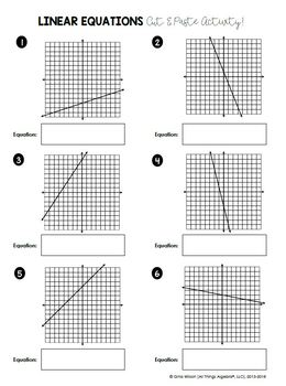 Linear Equations Cut and Paste Activity by All Things